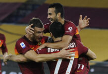 romanews-roma-esultanza-gol-rete-abbraccio-henrikh-mkhitaryan-edin-dzeko-pedro-fiorentina